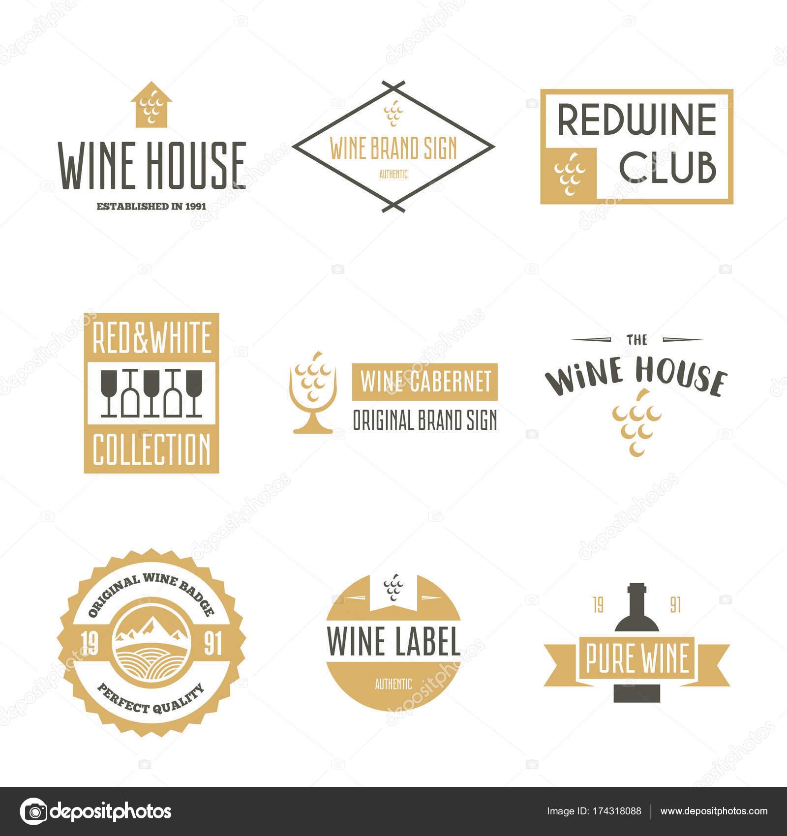 Wein-Logo-Vorlagen. Flasche, Glas, Weintraube. Vintage-Stil ...