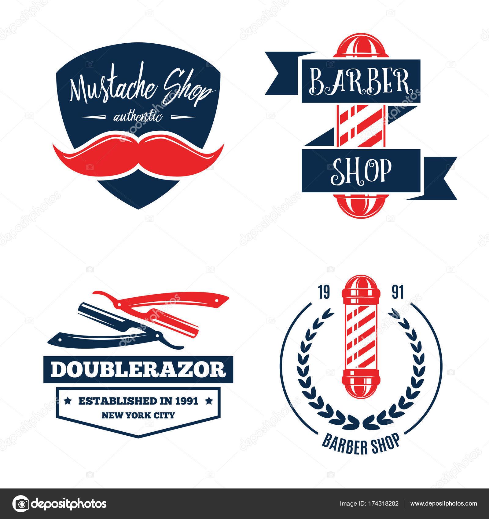Ilustração em vetor de conjunto isolado vintage logotipo barbearia.  Símbolos de cabeleireiro. Distintivo de