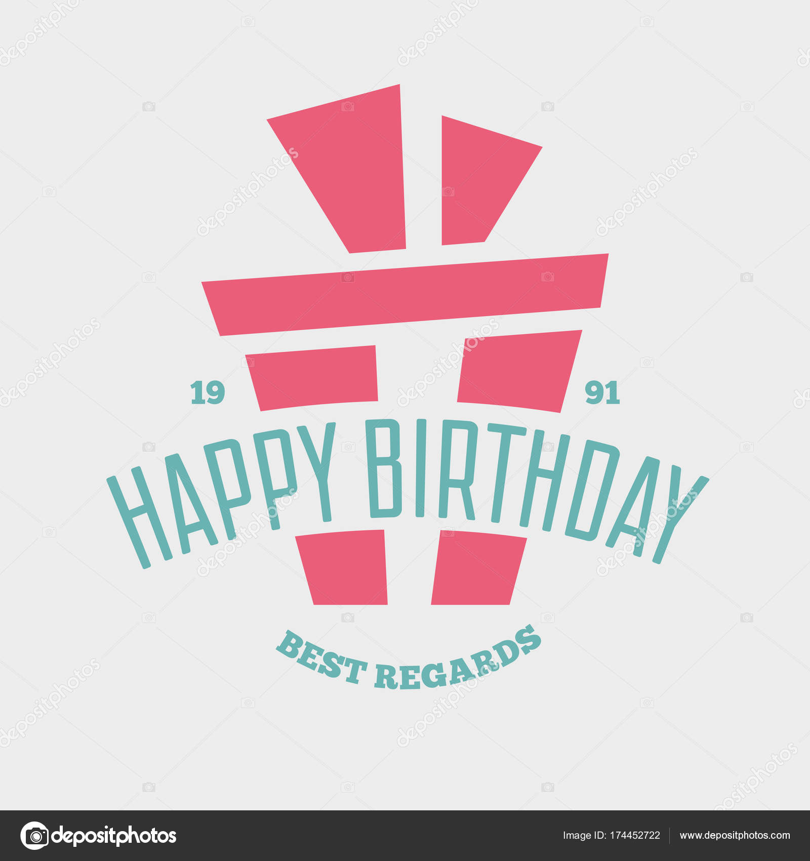 Happy Birthday Greeting Card Design Vector Template Badge Or Label