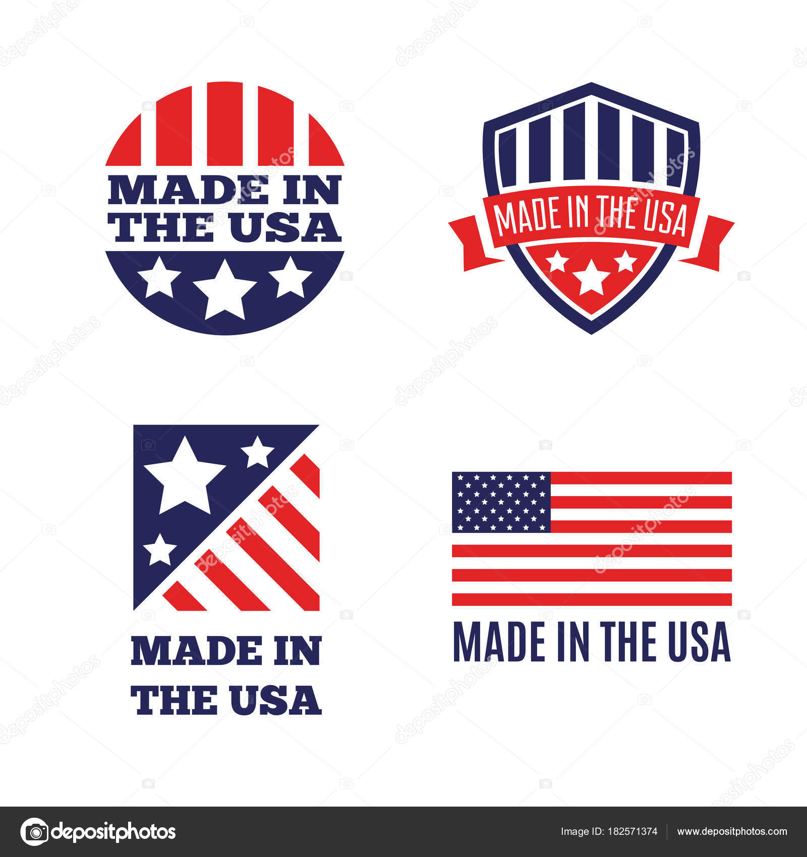 Vector set of made in the usa labels and badges on white vector set of made in the usa labels and badges on white background stock vector buycottarizona