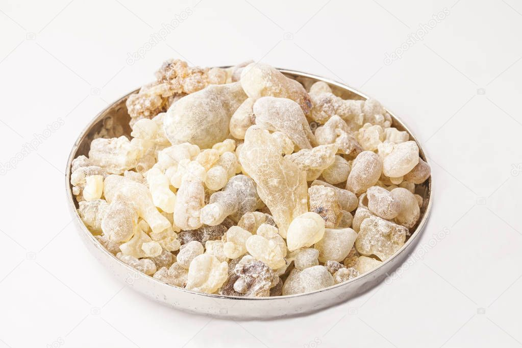 Frankincense resin,isolated on white