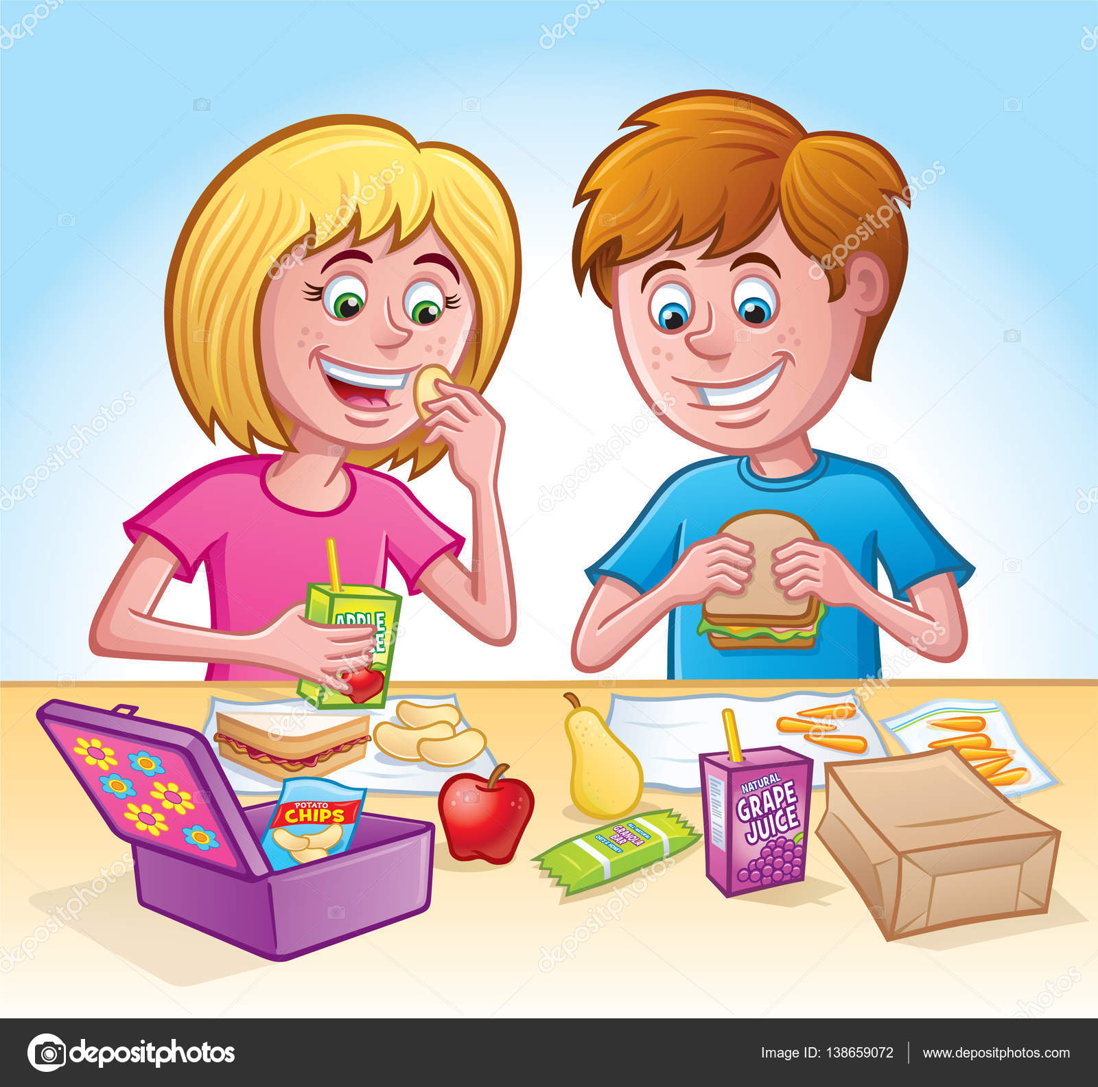 los ni u00f1os y ni u00f1as comer el almuerzo en la escuela fotos Out to Lunch Clip Art Family Eating Dinner Clip Art