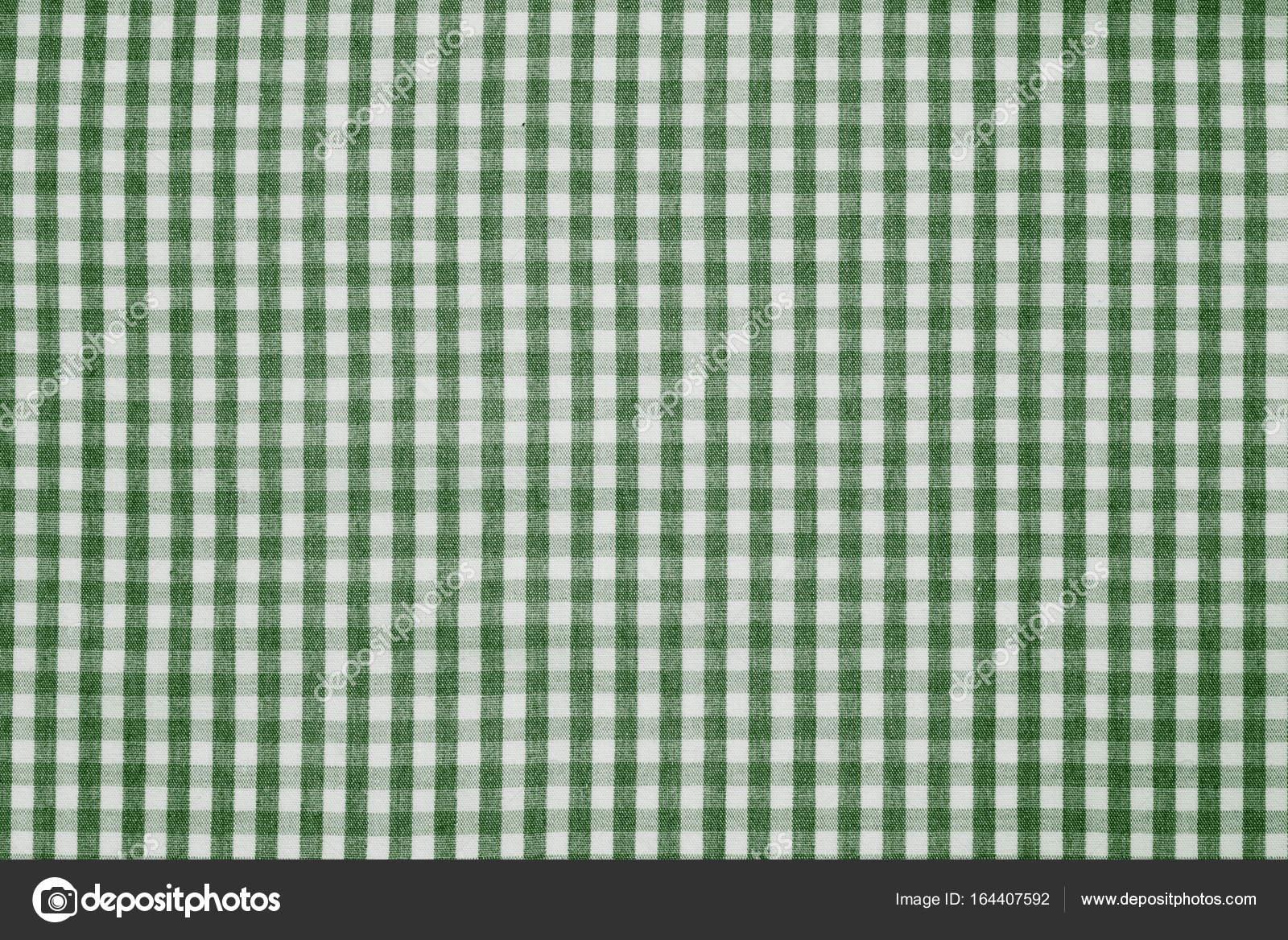 Trama Di Sfondo Tessuto A Quadretti Bianco E Verde Foto Stock