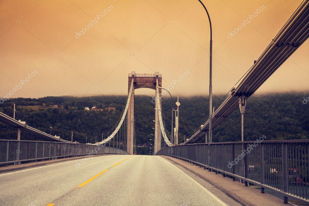 Road bridge at sunset
