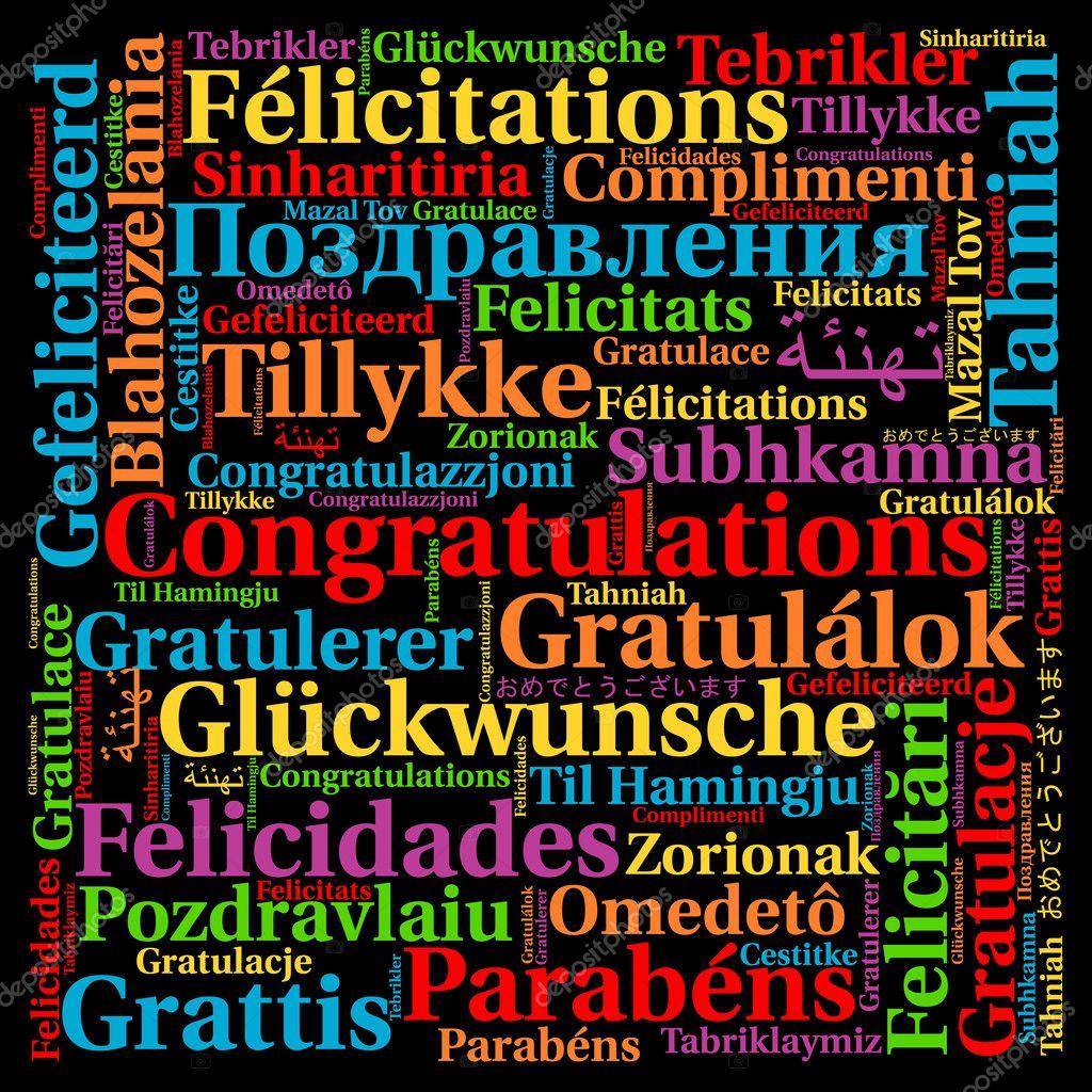 gefeliciteerd talen Gefeliciteerd in verschillende talen woord wolk — Stockfoto  gefeliciteerd talen