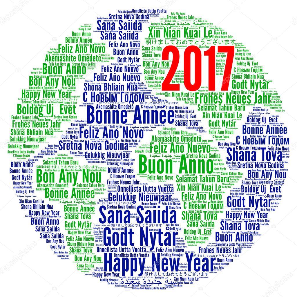 Gelukkig Nieuwjaar 2017 In Verschillende Talen Stockfoto