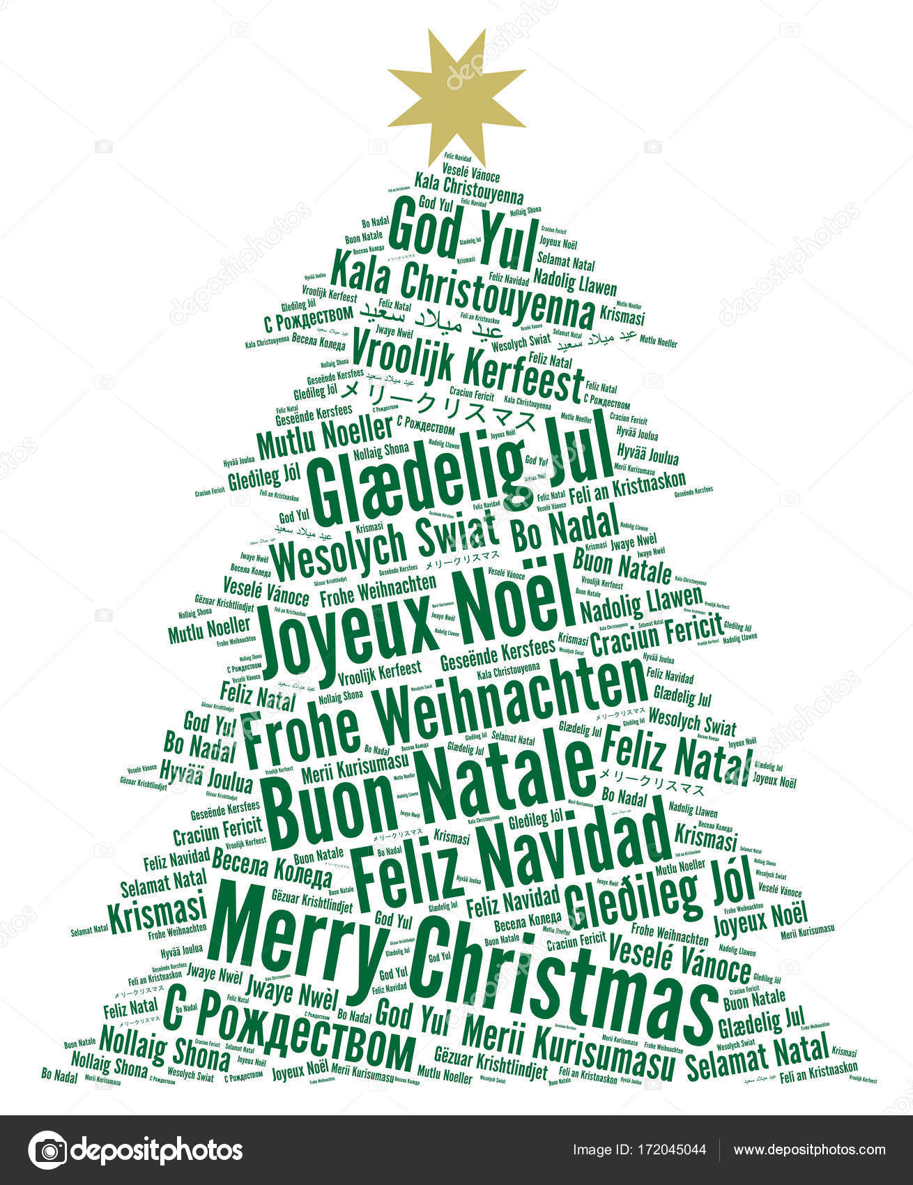 Merry Christmas In Different Languages Word Cloud Stock Photo