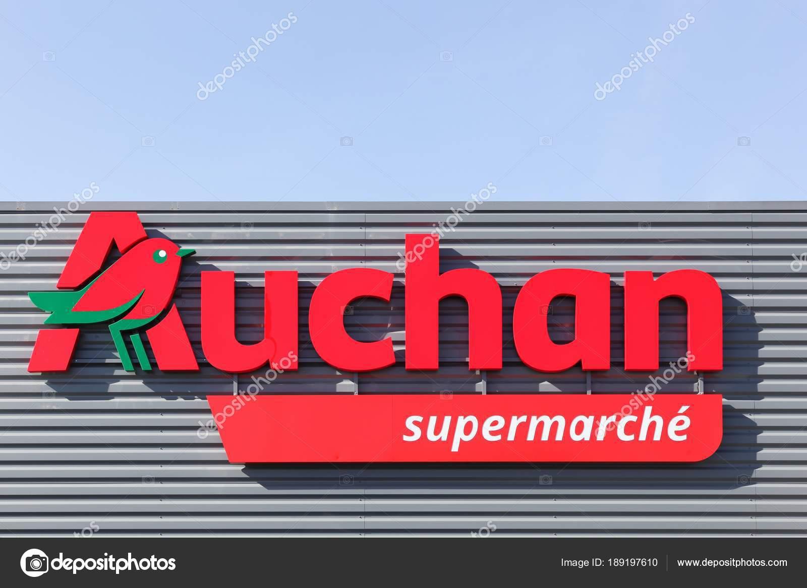 Massieux France March 2018 Auchan Supermarket Logo Wall