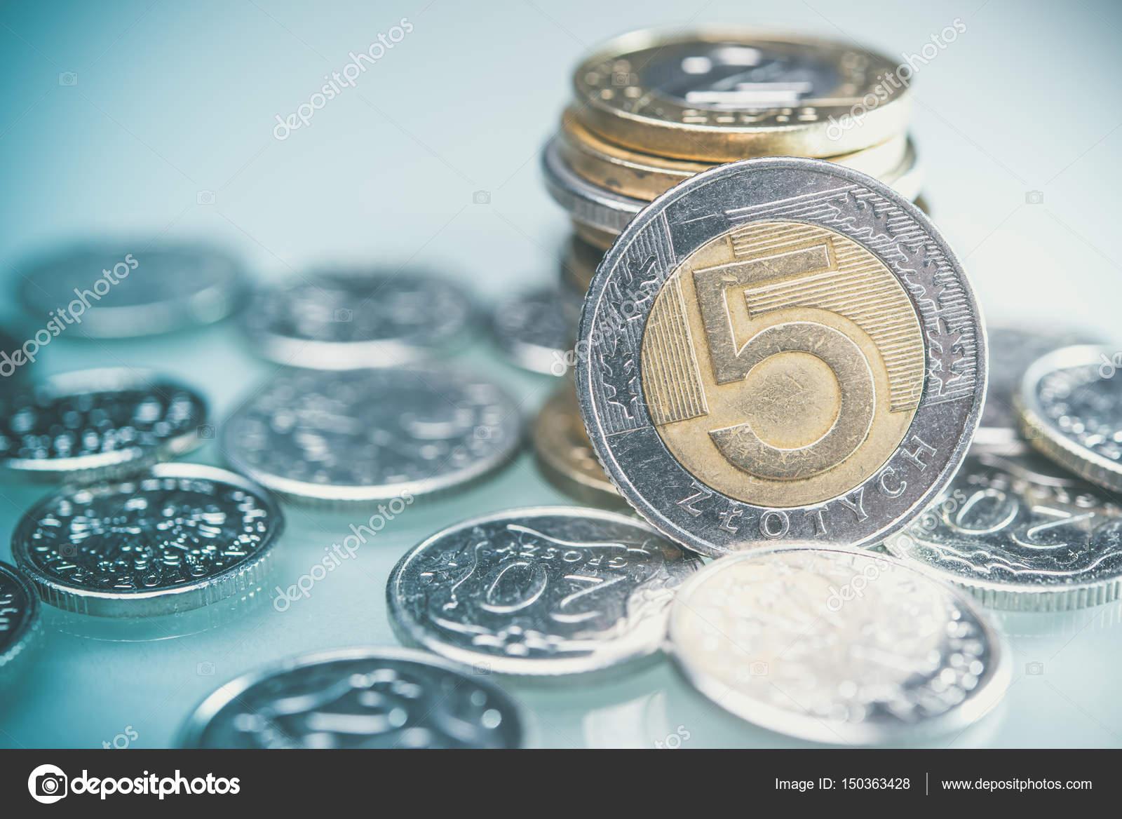Polnische Münzen An Der Rezeption 5 Zloty Münzen Closeup Foto