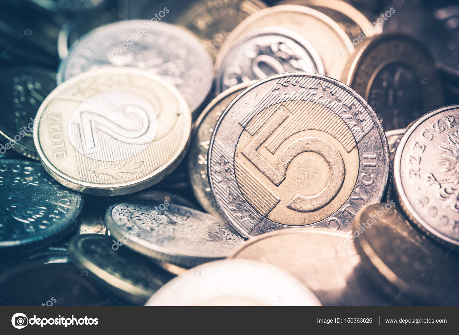 Polnische Währung Münzen Fünf Und Zwei Zloty Münzen Closeup Foto W