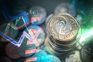 Polish Zloty Trading Concept. Polski Zloty Polish Currency Tradi