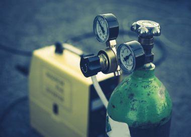Welding Equipment. Acetylene gas cylinder tank with gauge regula