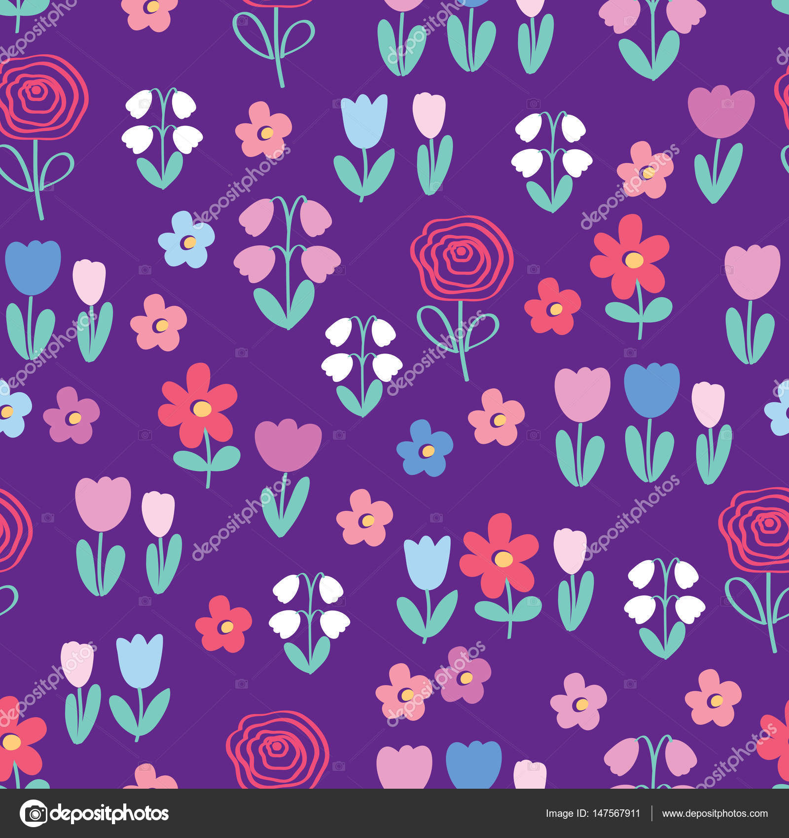 Colorful flowers on purple background