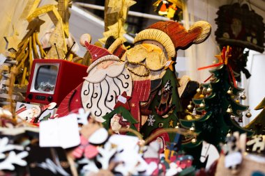 wooden santa claus in a christmas market.