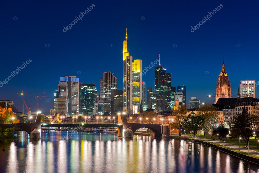 city of frankfurt am main skyline at night frankfurt germany stock photo ake1150sb 127671074. Black Bedroom Furniture Sets. Home Design Ideas
