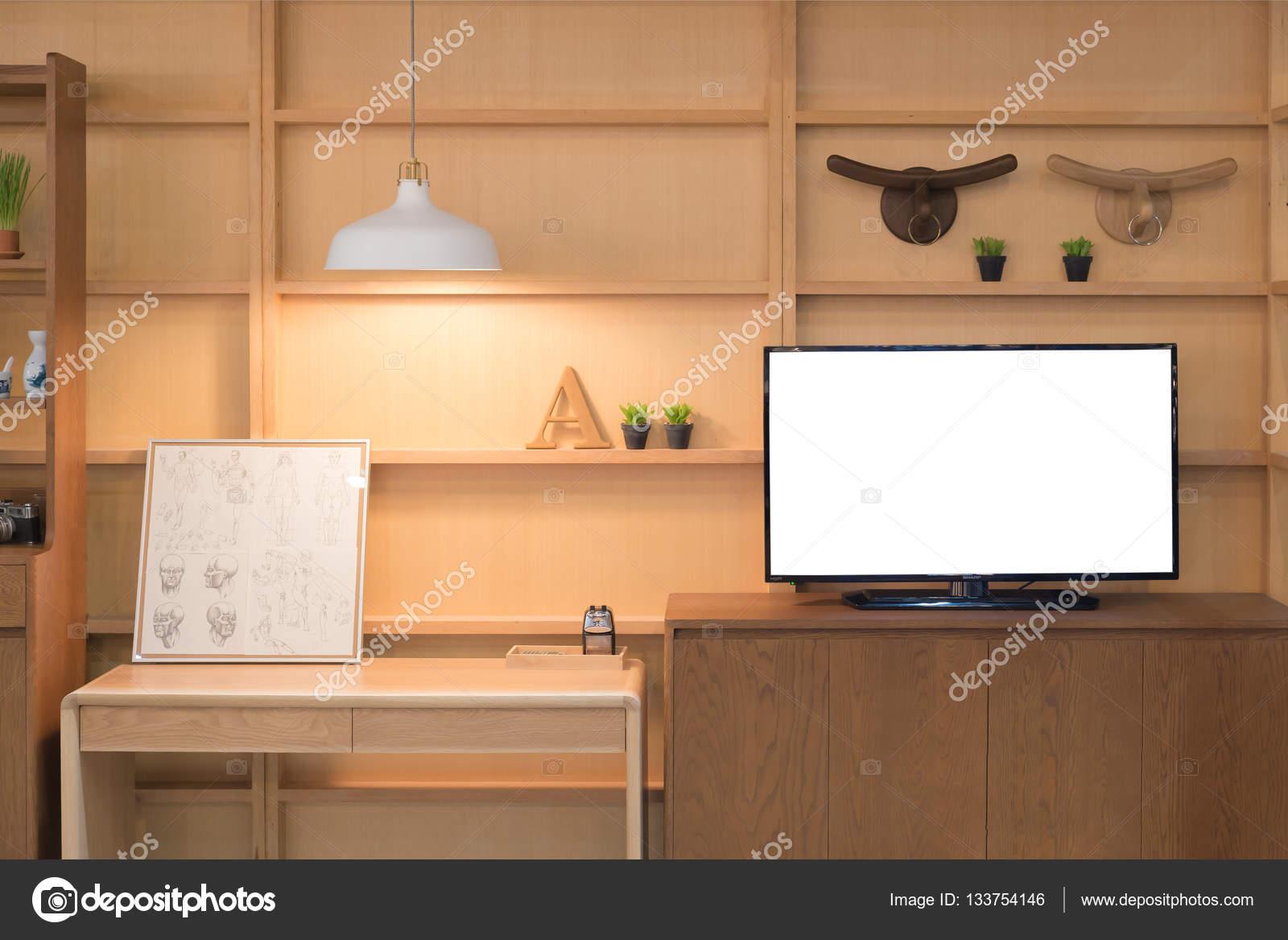 Moderne Holz-Regal mit flat-Tv im Wohnzimmer zu Hause. Lebenden ro ...