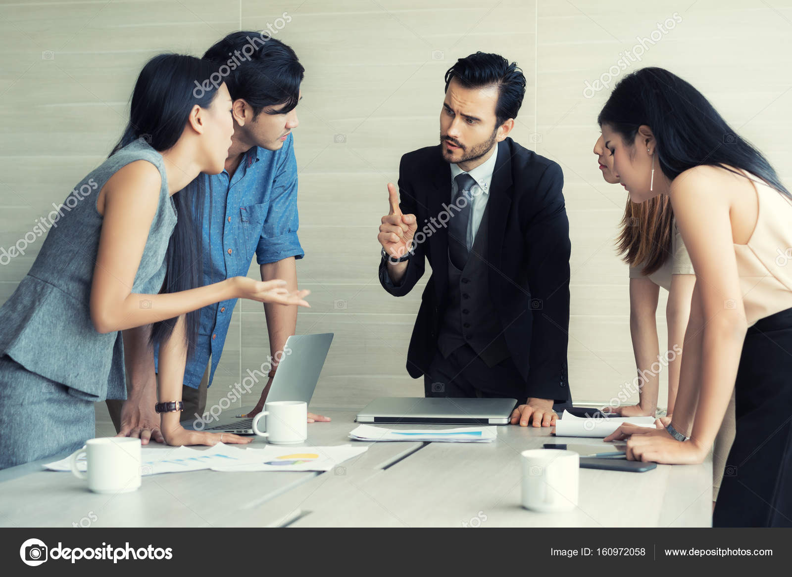Group of multi ethnic business partners discussing ideas in meet group of multi ethnic business partners discussing ideas in meet stock photo m4hsunfo