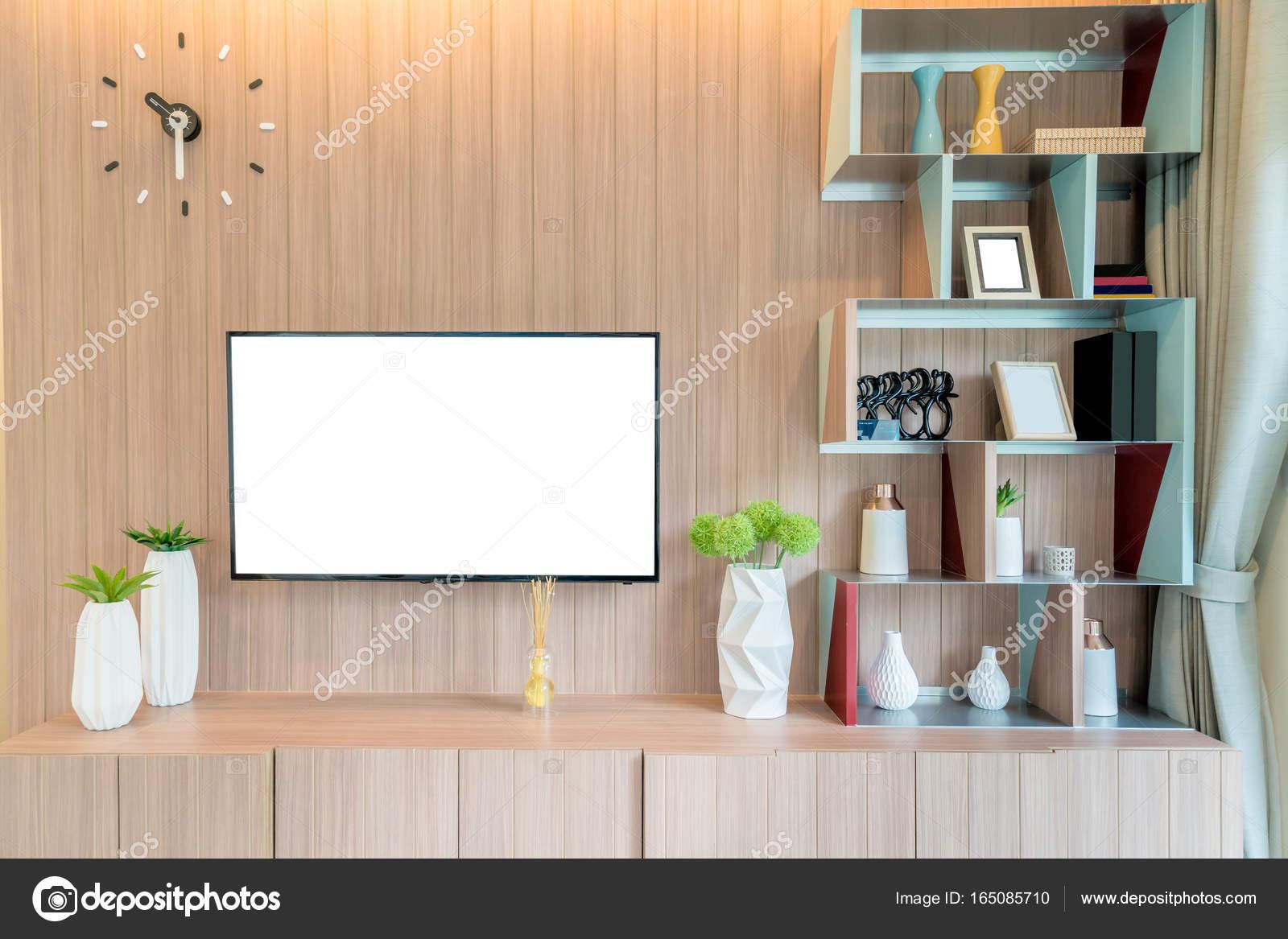 TV und Regal im Wohnzimmer zeitgenössischen Stil. Holz Möbel ich ...