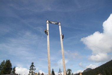 Vancouver, Canada, June, 2, 2019: Lumberjack show at a ski resort in Vancouver, Canada