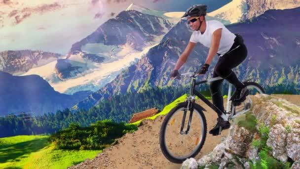 Cyklista v akci nebo jízdy na horské dálnici, krouží kolem silnice. Hory. Horská cesta. 4K. Animace 3D paralaxu