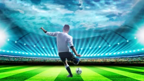 Fotbalista s míčem v akci na stadionu. Fotbalový dětský hráč. 4K. Animace 3D paralaxu