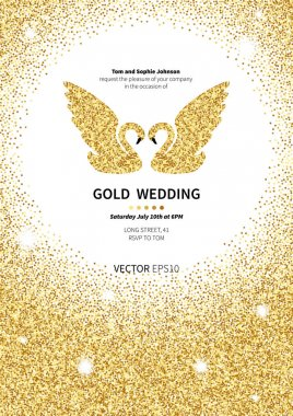 Template for invitation with gold background. Gold glitter card design. Vector design template invitation gold wedding clip art vector