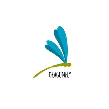 drawn blue dragon-fly
