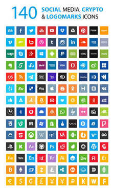 140 Social, currency, cryptocurrency icons set. Square icons. Colorful