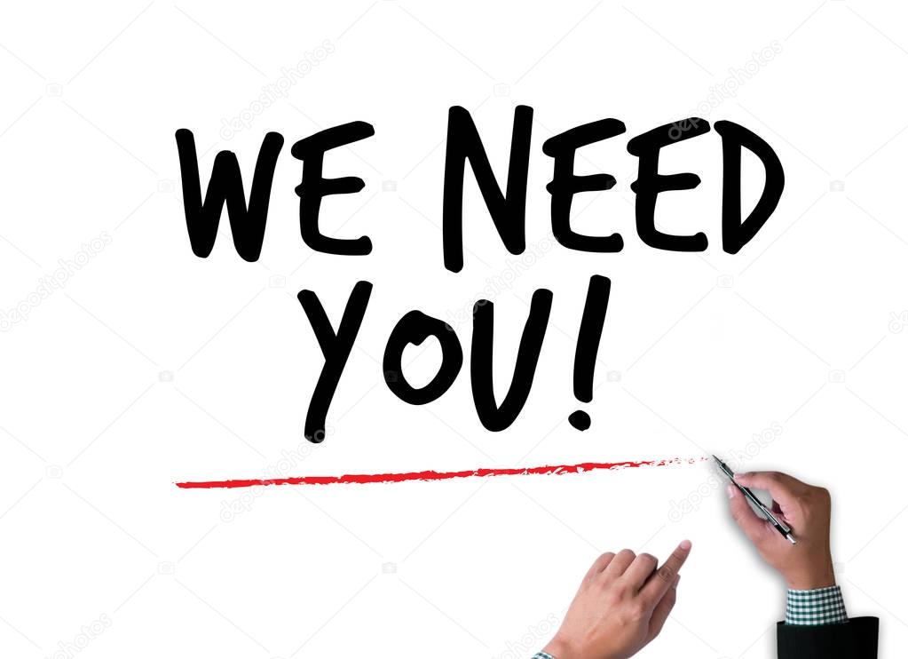we need you figure pointing with finger to you stock photo