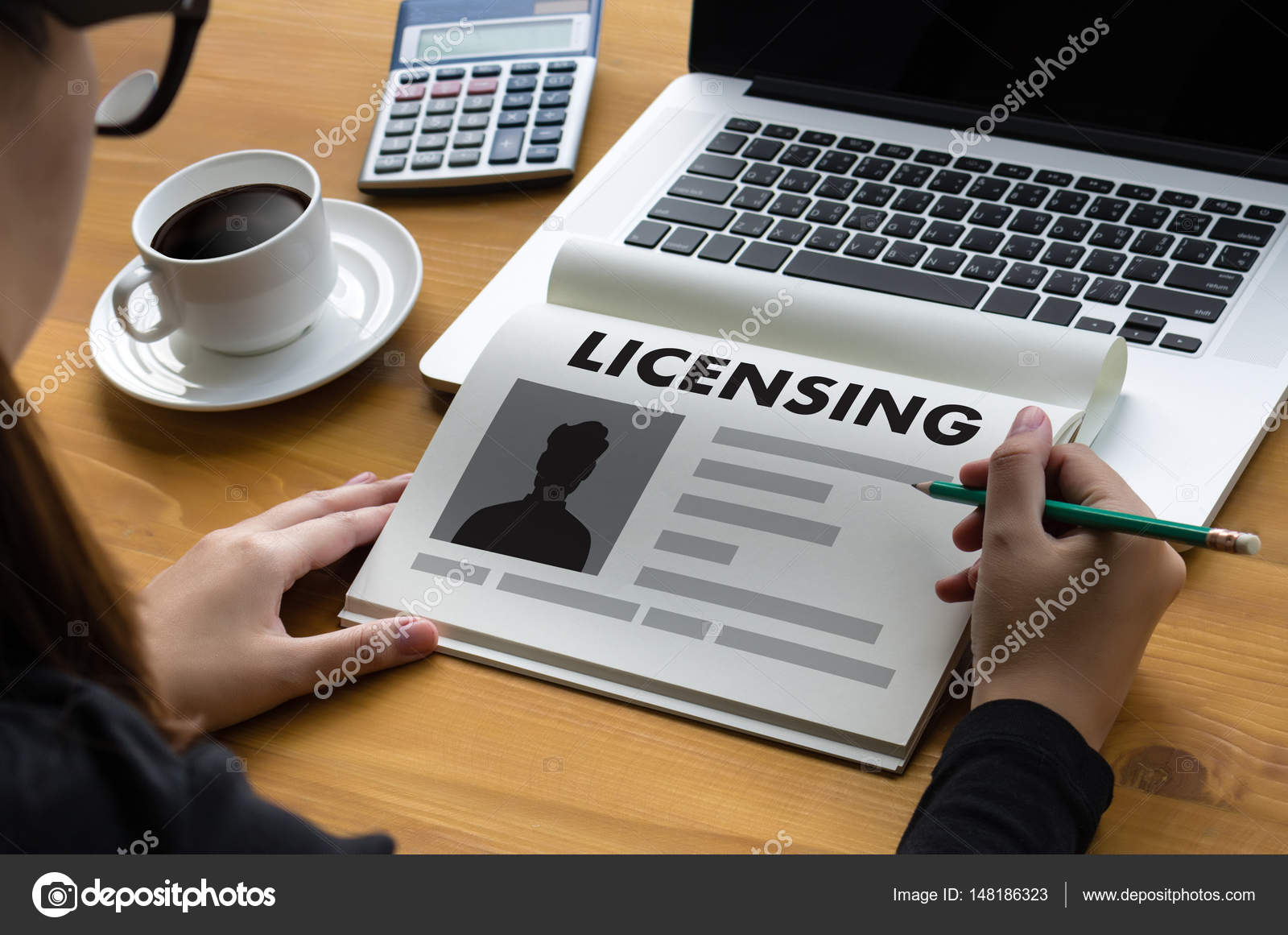 Patent License Agreement Licensing Business Man Hand Working O