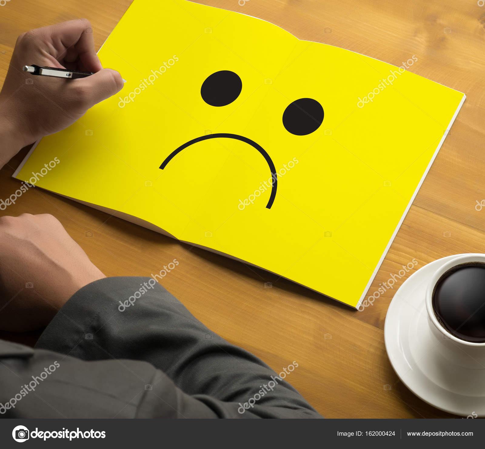 Depressive Emotions Concept Smiley Face Emoticon Printed Depr