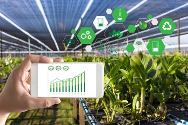agriculture technology concept man Agronomist Using a Tablet Int