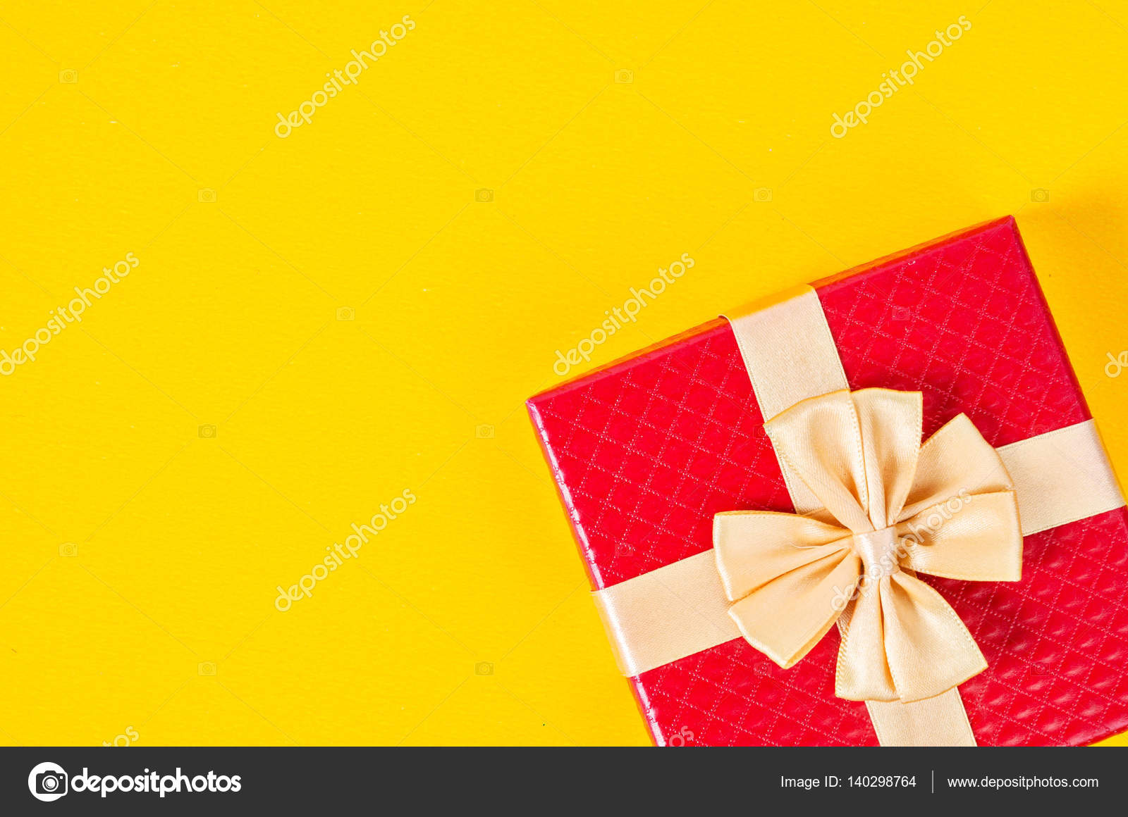 Red gift box on yellow color background stock photo gamjai red gift box on yellow color background stock photo negle Gallery
