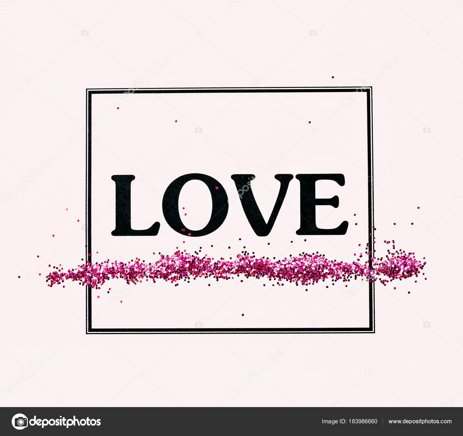 Love Word With Glitter In Frame Stock Photo