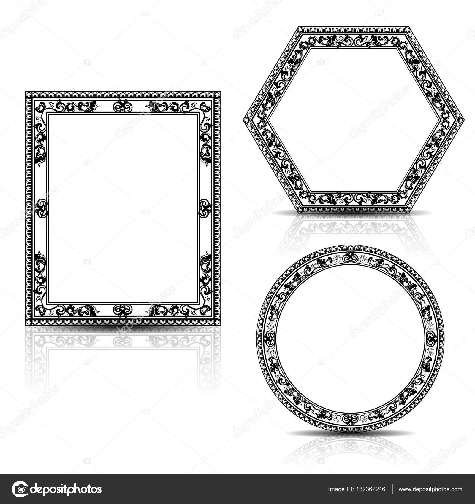 marco para foto o cuadro tallado de silueta — Vector de stock © M ...
