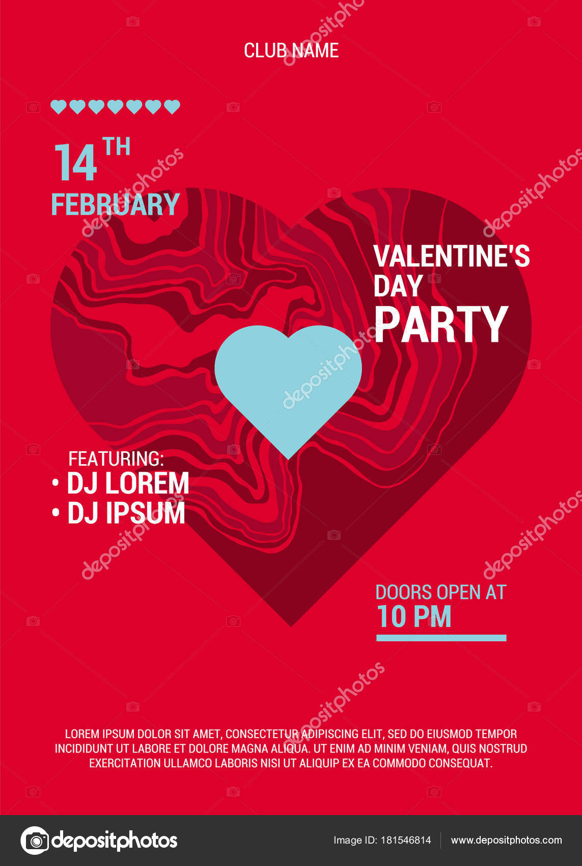 Valentine Day Party Poster Beautiful Backdrop Big Marble Heart