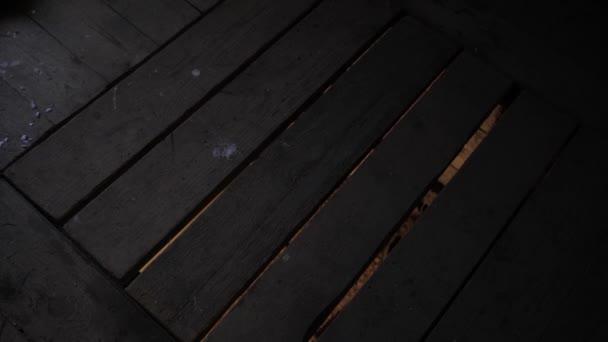 Světlo ze sklepa proniká mezi stará prkna poklopu.