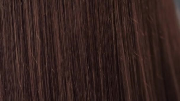 Hair. Beautiful healthy long smooth flowing brown coloring hair close-up texture