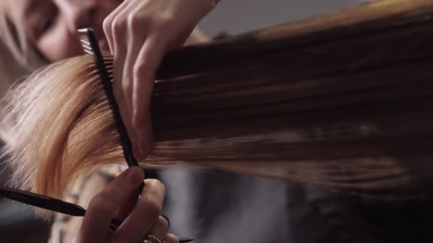 Hair salon girl haircuts. Close up 4K slow motion