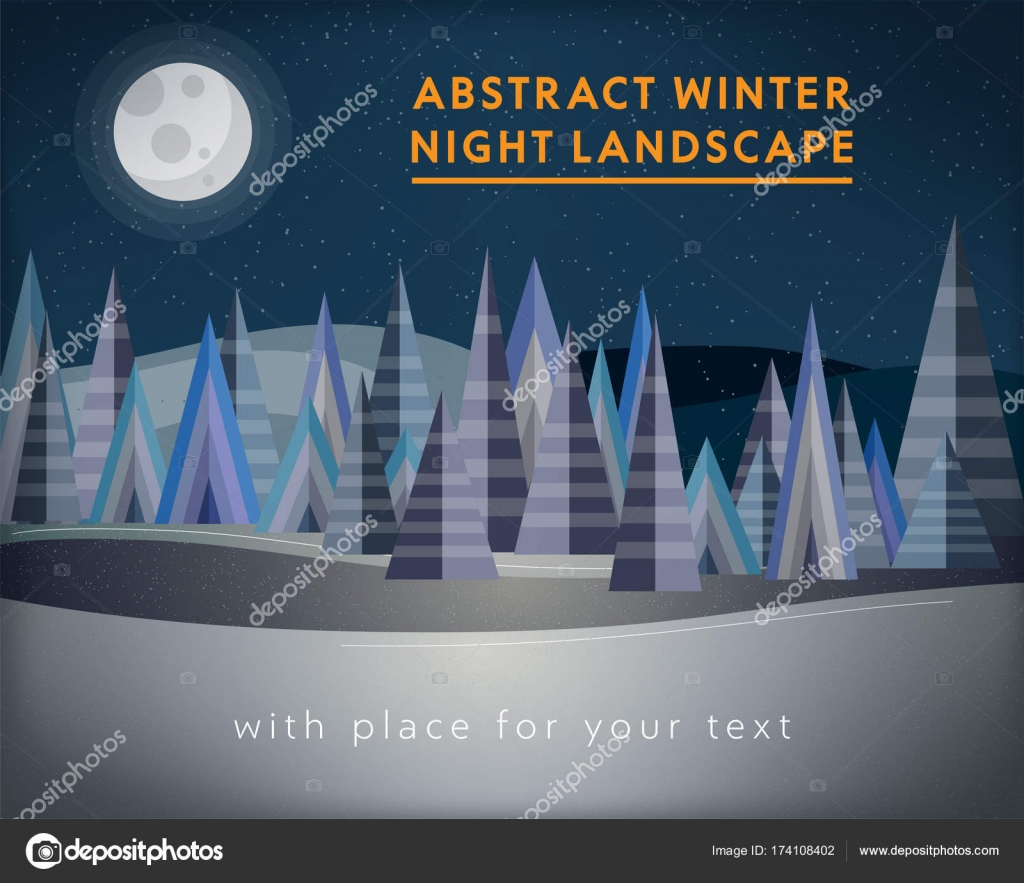 Noche de invierno Resumen paisaje con bosque y cielo estrellado ...