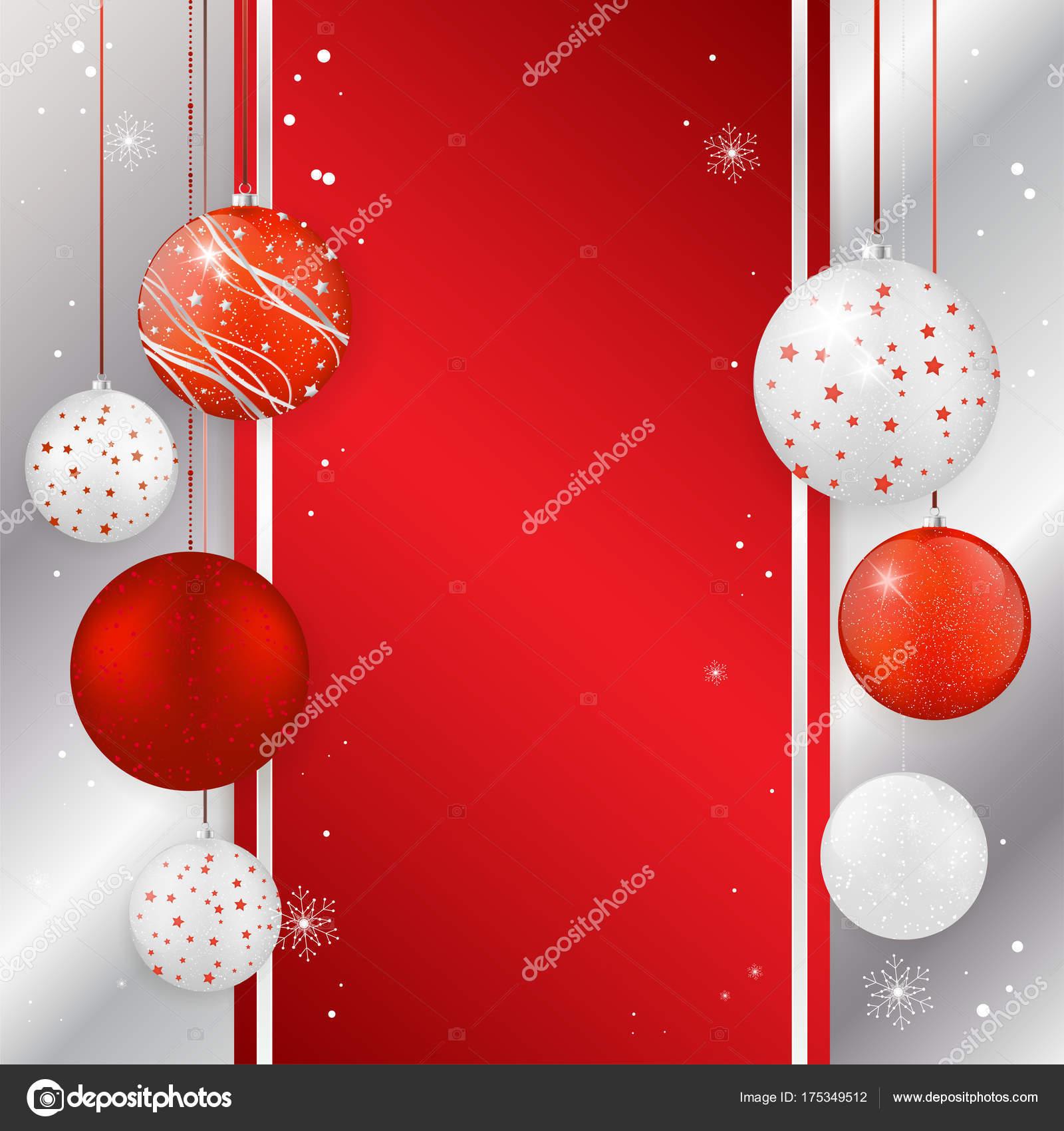 Kerstkaart Met Kerstballen In Rood En Zilver Kleuren Stockvector