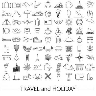 travel and holiday big set of vector outline icons eps10