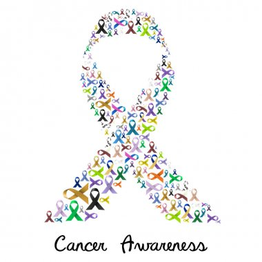 cancer awareness various color and shiny ribbons for help like a big colorful ribbon eps10