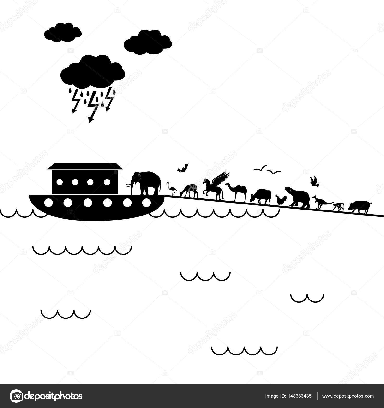 biblican Noah Ark con un montón de animales caminando dentro eps10 ...