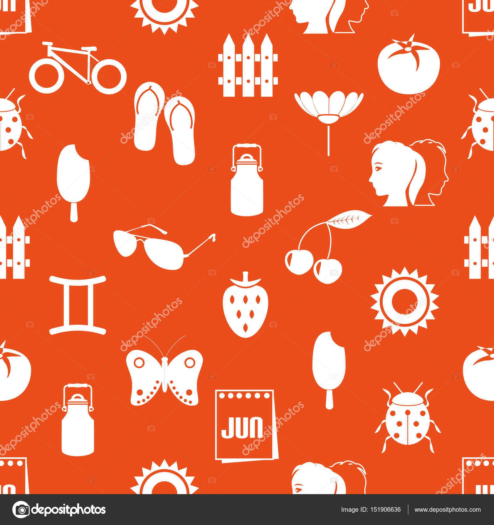 Thema Juni Monat Satz einfache Symbole Musterdesign eps10 ...