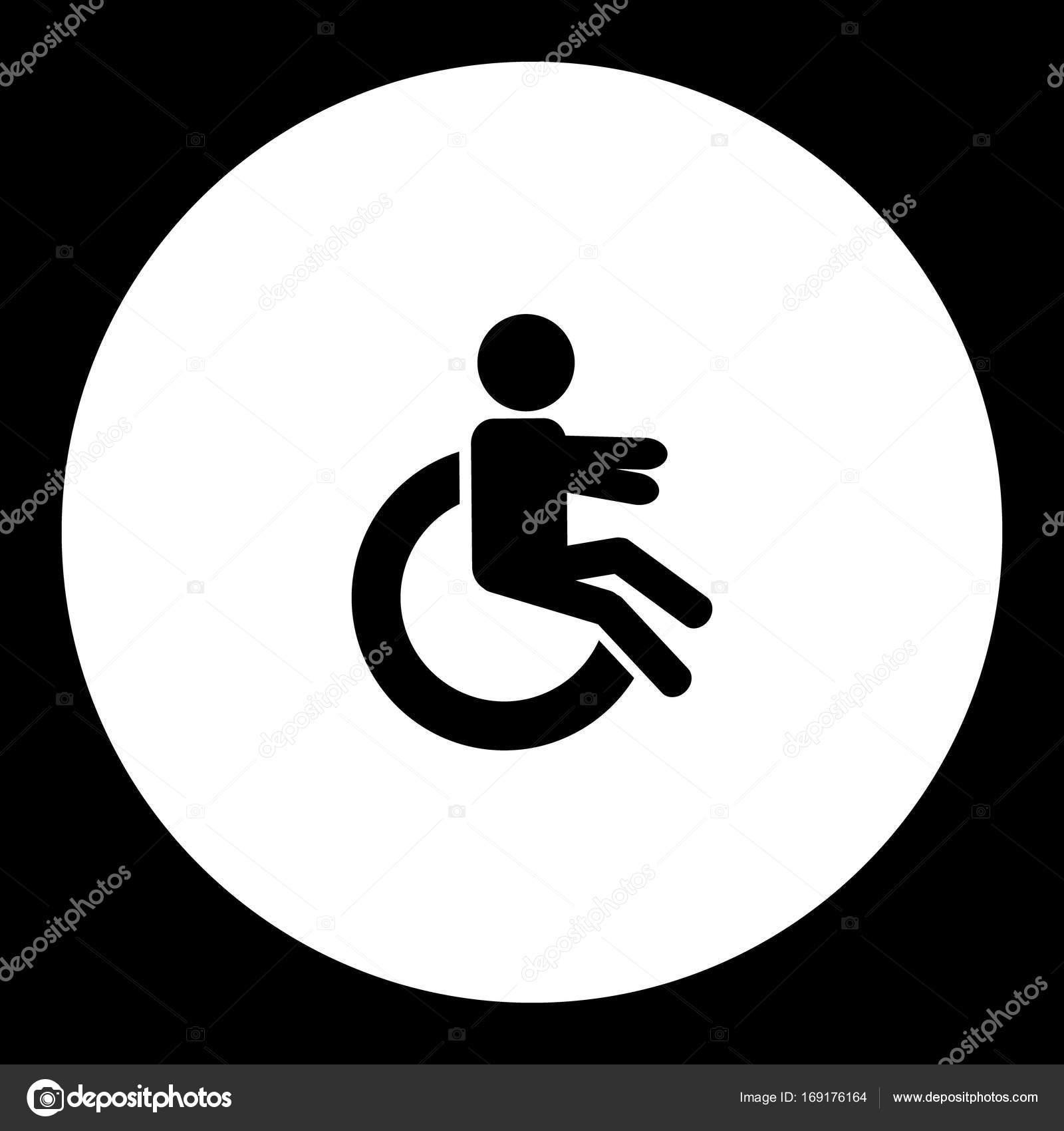 La Eps10 — De Silla Ruedas Vector Negro Handicapper Simple Icono 80wkXnOP