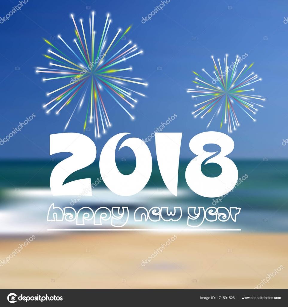 bonne ann e 2018 sur plage bleue comme couleur abstrait fond avec feux d artifice eps10 image. Black Bedroom Furniture Sets. Home Design Ideas