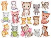 Roztomilé kočky a koťátka.Sada roztomilých kreslených zvířátek pro děti. Ručně kreslené akvarelové ilustrace, izolované na bílém pozadí.