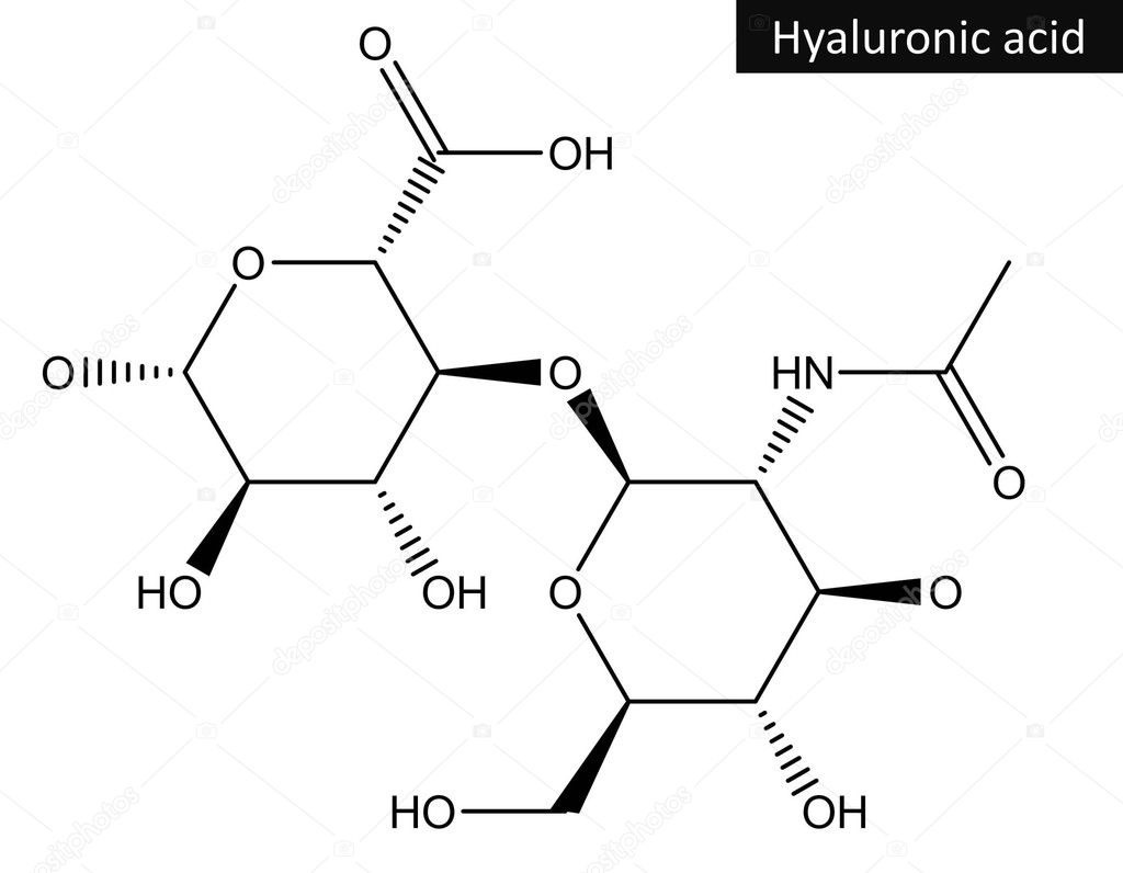 molecular structure of hyaluronic acid — stock photo