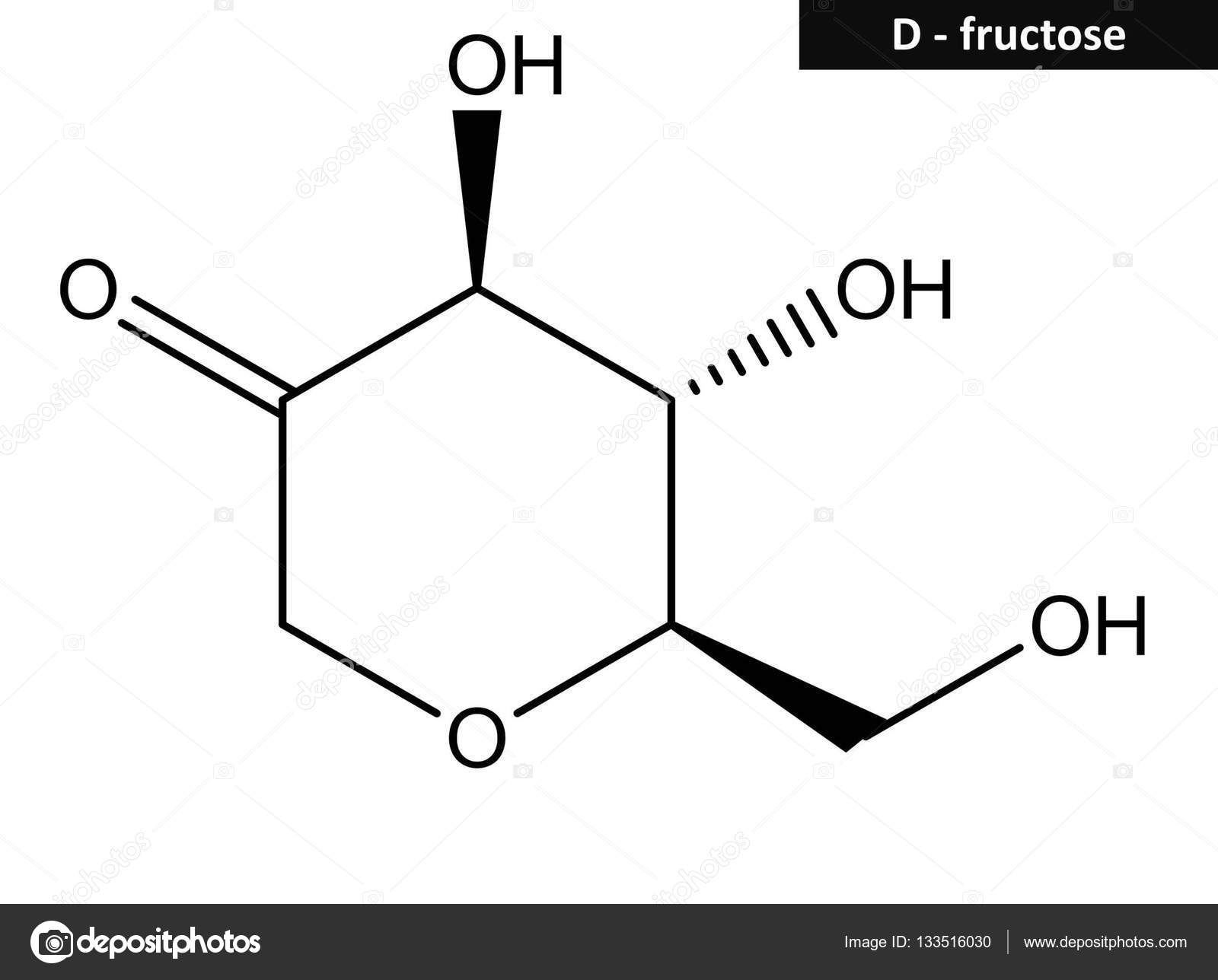 molecular structure of fructose fruit sugar simple ketonic monosaccharide found in many plants photo by raimund14
